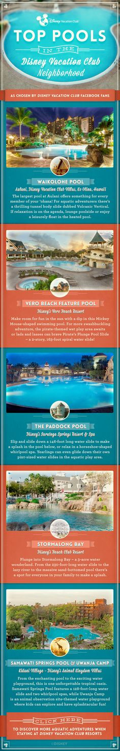 Splish splash! Cool off on your next Disney Vacation Club trip at some of the top pools, as voted on by our Facebook fans, in the Disney Vacation Club Neighborhood. Click to learn more about Disney Vacation Club Resorts.
