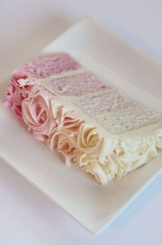 pink ombre cake with roses, so pretty when served