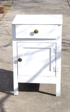 Antique Small Wood Cupboard, One Top Drawer, Bottom Door Storage, Hinges Work Perfectl, Roughly Painted White, Very Cute Country Kitchen by QUEENIESECLECTIC on Etsy