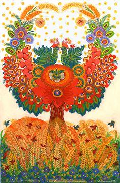 Family replenishment by Marfa Tymchenko Russian Folk Art, Ukrainian Art, Contemporary Decorative Art, Scandinavian Folk Art, Decoupage, Flow Arts, Naive Art, Whimsical Art, Unique Art