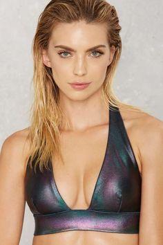 cool fabric...Nasty Gal Skye Oil Slick Hologram Bikini Top