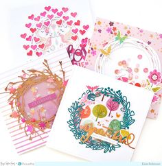 Wreath Cards by Elsie Robinson (Paige Taylor Evans) Foam Crafts, Paper Crafts, Heart Wreath, Tree Patterns, Shaker Cards, Pattern Paper, Card Stock, Card Making, Scrapbook Layouts