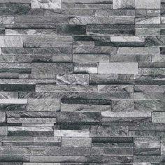 Papel pintado imitación pared de piedra gris PDW94210620