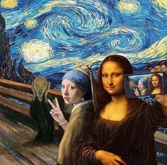A famous painting ART selfie. The Scream by Edvard Munch, Starry Night by Vincent van Gogh, Girl With a Pearl Earring by Johannes Vermeer and Mona Lisa by Leonardo da Vinci. Memes Arte, Art Memes, Arte Pop, Arte Van Gogh, Van Gogh Art, Art Du Collage, Pop Art, Street Art, Mona Lisa Parody