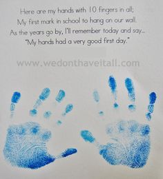Handprint Craft and Poem for the First Day of School - We Have It All