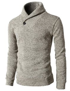 H2H Mens Knited Slim Fit Pullover Sweater Shawl Collar With One Button Point IVORY US L/Asia XL (KMOSWL036)