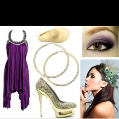 Mardi Gras dress idea loving the hair pin!! Changing it up from a mask