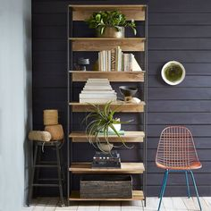 Form, function and versatility. The Industrial Modular 84 cm Bookshelf works everywhere from the living room to the dining room or home office. Supported by blackened steel frames, each piece is subtly unique, due to the natural colour variations in the mango wood.