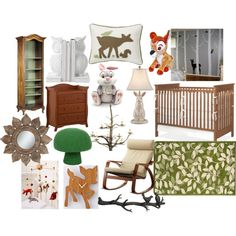 A home decor collage from March 2014 featuring french country furniture, high-back chairs and green ottoman. Bambi Nursery, Fairy Nursery, Disney Nursery, Baby Nursery Themes, Baby Decor, Nursery Ideas, Enchanted Forest Nursery, Disney Bedrooms, Princess Nursery