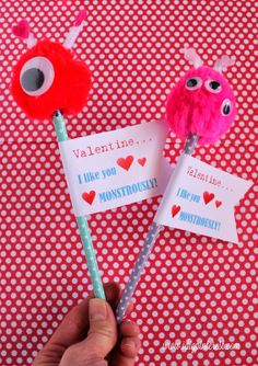 Valentine Monster Pencils with free printable....too cute!