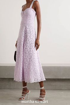 Lilac corded lace exudes a delicate feminine air when paired with this gorgeous silhouette, and the look is perfect for an outdoor garden party-style wedding. #weddingideas #wedding #marthstewartwedding #weddingplanning #weddingchecklist Plunge Dress, Lace Midi Dress, Lace Dresses, Jonathan Simkhai, Fall Skirts, Types Of Fashion Styles, Grosgrain, Dress Making, Lilac