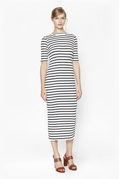 Bodycon Stripe Maxi Dress - White/Navy