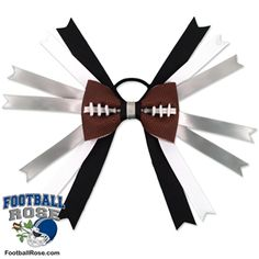 Handmade Football Hair Bow made from real football leather with Black, Silver, and White ribbon accents inspired by Oakland football Football Hair Bows, Football Fans, Different Font Styles, Team Mom, Elastic Hair Ties, Making Hair Bows, Ribbon Colors, How To Make Bows, Grosgrain Ribbon