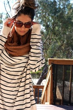 Striped sweater, Cowl, Sunnies, and Topknot