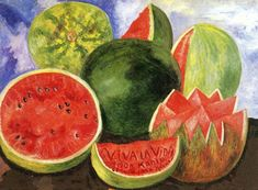 """Frida Kahlo (Photograph by Nickolas Muray)  Frida's passionate love of life and her delight in beautiful things (as well as her sense of humour) is clearly expressed in her very last painting, a still-life of watermelons. Painted in 1954, she included the words """"Viva La Vida"""" on a slice of watermelon just a few days before her death. (Source & quote: Tuchman, P., smithsonianmag.com, November 2002)"""