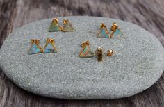 Genuine Turquoise Triangle Earrings Natural Raw by HalfMoonFusion