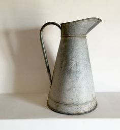 Large French Antique Zinc Pitcher - Broc Zinc - Galvanized Metal Jug - French Country Garden Decor by LaVieEnPastis on Etsy