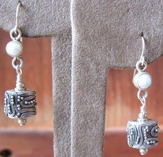 Women's Earrings with Pearl & Bali Sterling Silver Dangles