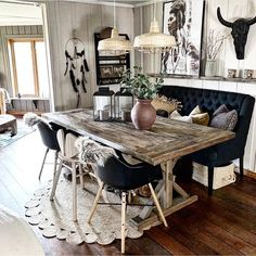 cool Awesome Boho Dining Room Design Ideas With Farmhouse Table Dining Room Walls, Dining Room Design, Western Style, My Living Room, Rustic Furniture, Luxury Furniture, Furniture Ideas, Home Design, Design Ideas