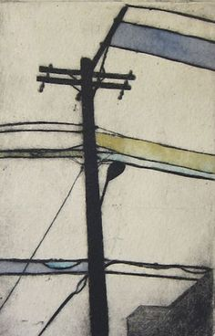 Power Line Drypoint Etching on Paper by michelemaule