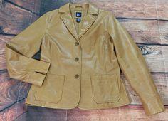Gap Tan Leather Jacket Womens Size Medium | Clothing, Shoes & Accessories, Women's Clothing, Coats & Jackets | eBay!
