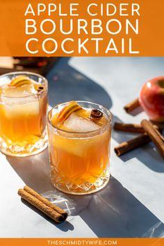 Apple Cider Alcohol, Bourbon Apple Cider, Apple Cider Drink, Apple Cider Cocktail, Cider Cocktails, Fall Cocktails, Bourbon Recipes, Bourbon Cocktails, Cocktail Recipes
