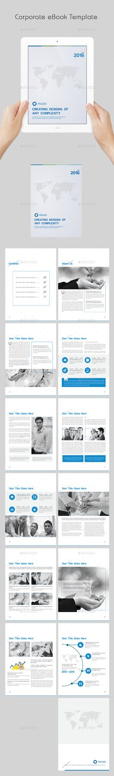 #Corporate eBook Template - Digital Books #ePublishing Download here: https://graphicriver.net/item/corporate-ebook-template/13961531?ref=alena994