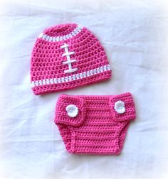 Crochet Baby Football Beanie Hat and Diaper Cover Set Watermelon Pink Newborn MADE TO ORDER. $29.50, via Etsy.