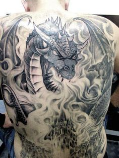Classic black and white dragon tattoo on back INK~ tattoos