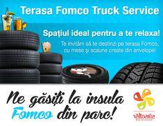 Vino alături de noi la Festivalul Vâltoarea Mureșeană, în Parcul Municipal din Tîrgu Mureș, începând cu 31 August!   Te invităm să destinzi într-un cadru relaxat și liniștit, pe terasa Fomco Truck Service, creată din anvelope!