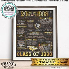 "NOTICE: Shop owner is away & ""unplugged"". Currently, only Instant Downloads are available (nothing custom). Messages may not be replied to immediately. Please see the SHOP ANNOUNCEMENT for more info. 20 Year Reunion Class of 1998 printable chalkboard style poster -- A fun poster"