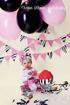 Pink and Zebra Cake Smash