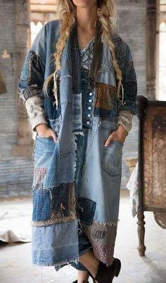 64 Super Ideas Patchwork Jeans Diy Inspiration - Image 11 of 25 Denim Fashion, Look Fashion, Hippie Fashion, Cheap Fashion, Fashion Women, Fashion Trends 2018, Fashion Brands, Artisanats Denim, Denim Skirt