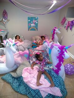 I used unicorn floats as beds. Added pillows and covers to fill the middle. They loved it Slumber Party Birthday, Fun Sleepover Ideas, Sleepover Birthday Parties, Unicorn Themed Birthday Party, Girl Sleepover, Girl Birthday Themes, Little Girl Birthday, Kids Party Themes, Sleepover Activities