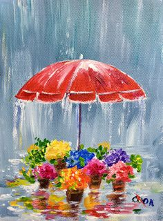 """Flowers in the Rain"" Monday live YouTube Jan. 30th live YouTube demo. 6x8"
