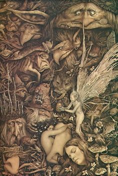 Brian Froud I love these older goblin pictures. No matter how often you look, there's always something you've never noticed before. Brian Froud, Magical Creatures, Fantasy Creatures, Fantasy World, Fantasy Art, Elfen Fantasy, Nature Spirits, Art Graphique, Fairy Art