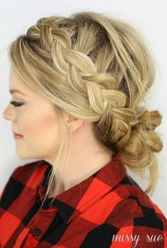 2014 DIY Dutch Braid and low messy bun Hairstyles - long golden hair, Messy hairstyle, 2014 Holiday Hairstyles