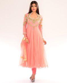 Blush Peach Kalidar Suit with Embellished Yoke