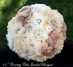Elegant RUSTIC BROOCH BOUQUET, Rustic Themed Jeweled Wedding Bouquet, Deposit only, Brooch Bouquet, Fabric Flower Bouquet