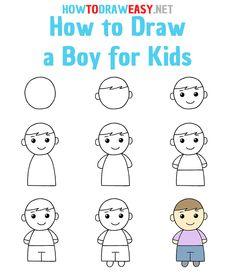 Cute Easy Drawings, Art Drawings Sketches Simple, Doodle Drawings, Cartoon Drawings, Drawing Lessons For Kids, Drawing Tutorials For Kids, Drawing For Beginners, Elementary Drawing, Hand Art Kids
