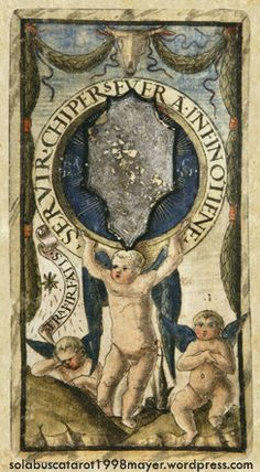 ACE OF DISKS, from the Sola-Busca Tarot (Italy 1491) faithful reprinted by Wolfgang Mayer (Germany 1998)