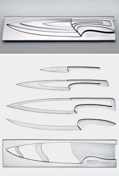 nesting knife set > designed by mia schmallenbach for degion Tools And Equipment, Kitchen Equipment, Blacksmithing Knives, Kitchen Knives, Kitchen Gadgets, Kitchen Stuff, Compact Living, Cool Knives, Chefs