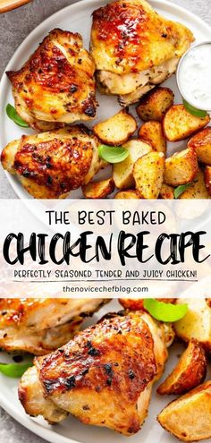Make The Best Baked Chicken Recipe on Father's Day! Learn how to get perfectly tender and extra juicy chicken every time using a lip-smacking marinade plus a few tips and tricks. Any vegetable side will pair great with this Father's Day dinner idea! Save this recipe!