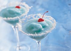 Coconut Blue Hawaiian Cocktail...A Pretty and Cool Tropical Drink...Frozen Treat