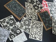 lino cut cards - Marimekko style