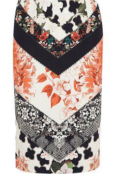 Roberto Cavalli|Printed stretch-crepe pencil skirt|NET-A-PORTER.COM