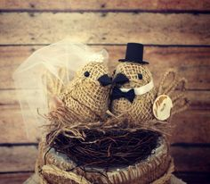 Burlap bird wedding cake topperrustic burlap by MorganTheCreator, $50.00