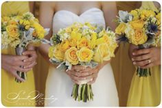 yellow flower wedding bouquet, yellow jenny yoo bridesmaids dress, jenny yoo wedding dress, art with nature floral design Photo by Sweet Monday Photography www.sweetmondayphotography.com