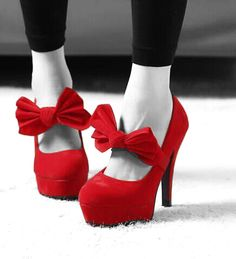 Red shoes - red selective colour photography