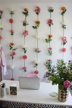 DIY Flower Wall with Hobbycraft — Charlotte Jacklin - for beauty room? Fake Flowers Decor, Flower Room Decor, Cute Room Decor, Diy Flowers, Flower Decorations, Wall Of Flowers, Floral Bedroom Decor, Hanging Flower Wall, Room Decorations